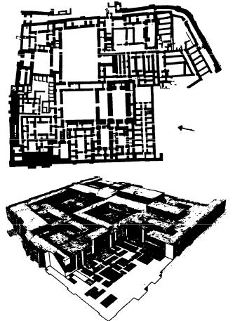 Planta y reconstrucción del palacio de Mari, donde se hallaron los archivos de Mari